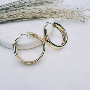 5 for $25 Gold Color Wide Hoop Earrings